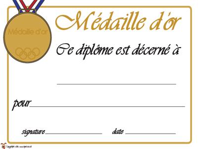 Diplôme Olympique / Or, Argent, Bronze
