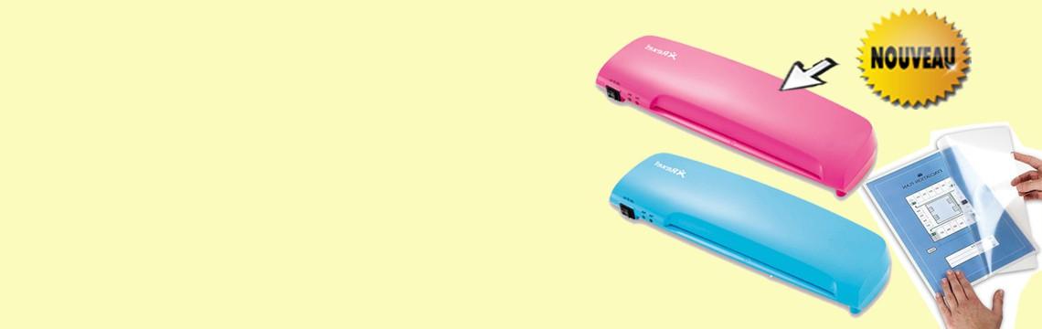 Plastifieuse Rexel Joy couleur rose et bleue